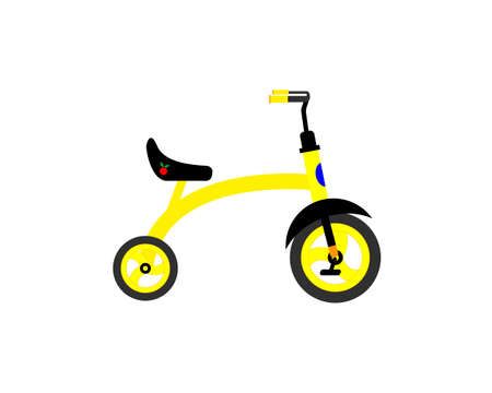 Children's tricycle. Yellow on a white background. Vector illustration. Ilustracja