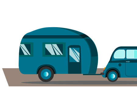 Travel in a house on wheels. Blue retro car with camping ride on a trip, vector illustration.