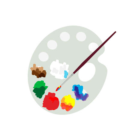 Color palette and paint brush, artist icon flat design. Vector illustration.
