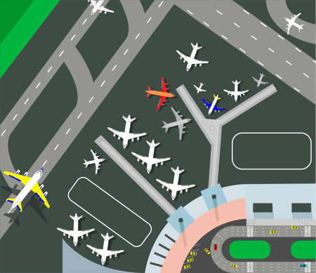 Horizontal banner with airplane taxiing and preparing for take off on runway, top view. Passenger aircraft beside airport building . Colorful vector illustration in flat style. Иллюстрация