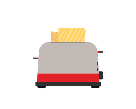 Toaster. Front view. Fry bread. Vector illustration. Isolated on white background