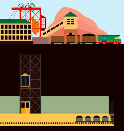 Coal mine. Illustration of mining in the section. Vector illustration.
