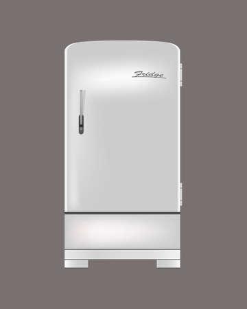 Vintage fridge. Isolated on gray background. Vector illustration Illustration