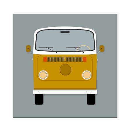 Retro bus. Front view. Vector illustration. Flat design.