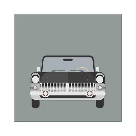 Retro car. Front view. Limousine. Vector illustration. Flat design