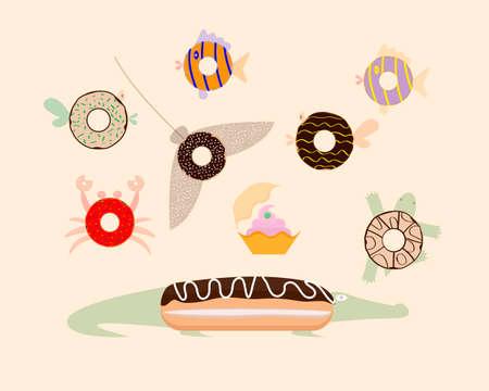 Fantasy. Donuts top view. Sea inhabitants. Vector illustration