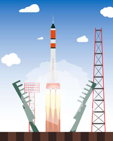 Start rocket from the spaceport. Launch raekty in space. Vector