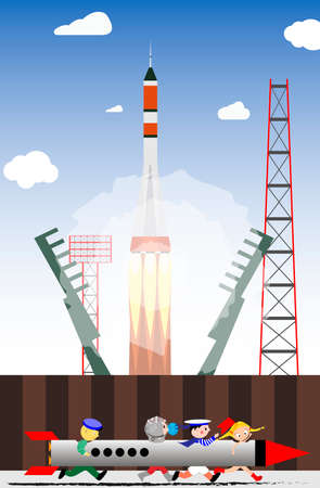 Rocket launch into space from the launch site. Cosmonaut game of children. Vector illustration.