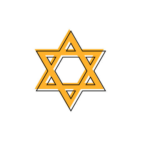 Star of David. Hexagram sign. Symbol of Jewish identity and Judaism. Simple flat orange illustration