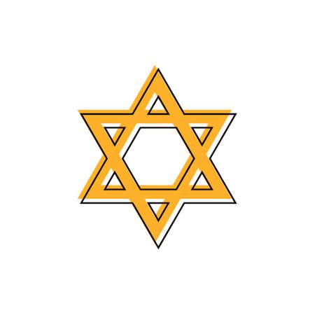 Star of David. Hexagram sign. Symbol of Jewish identity and Judaism. Simple flat orange illustration