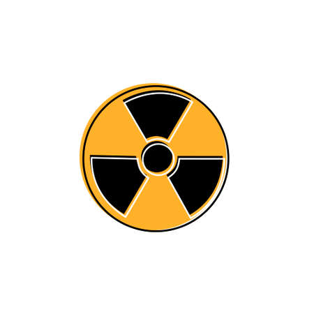 Radioactive warning yellow circle sign. Radioactivity warning vector symbol. Çizim