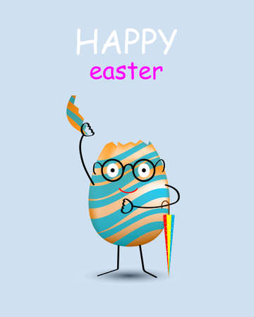 Happy easter. Cracked eggshell. An empty egg shell halves over blue background.