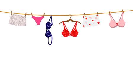Pantie, sujetador y lencería colgando de una cuerda. Ilustración vectorial.