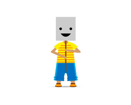 Boy covering his face with smiling mask on white background. Vector illustration