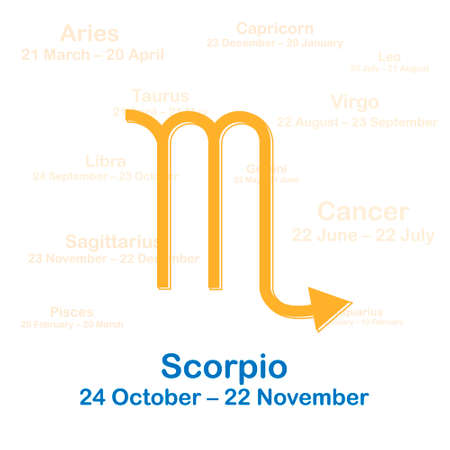 Zodiac sign scorpio. Vector illustration on white background