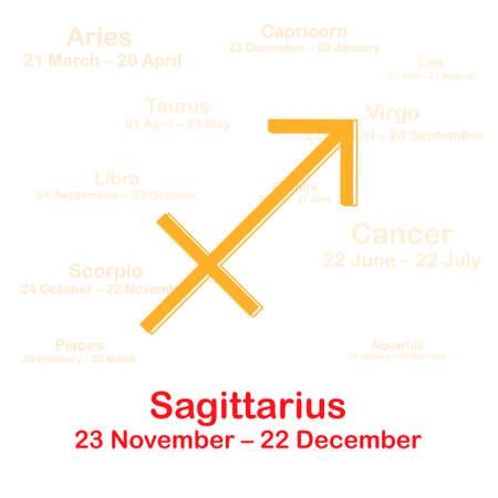 Zodiac sign sagittarius. Vector illustration on white background Illustration