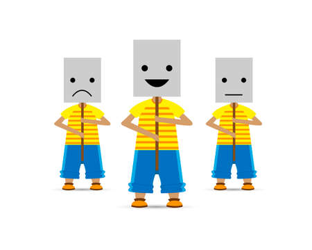 People in masks with different states of the soul. Smile, sadness, indifference. Vector illustration