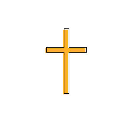 Christian cross Yellow icon on white background
