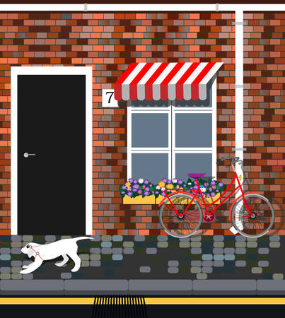 Bicycle with flowers near provence style house. Vintage building facade. Dog walking. Banque d'images - 125584630