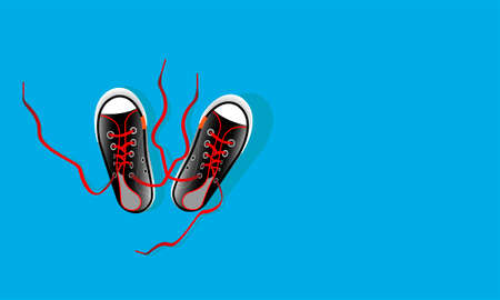 Pair textile sneaker with rubber toe and loose lacing. Shoes of modern teenagers skaters. Isolated on blue background. Vector illustration.