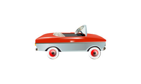Children's pedal car. vector illustration. White isolated background
