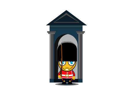 Soldier of the royal guard. Guardian of Buckingham Palace. Vector illustration Illustration