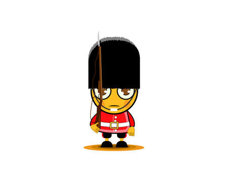 Cartoon British Royal Soldier with weapon, isolated on white. Vector illustration Illustration