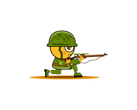 Cartoon soldier in uniform and rifle ready for battle. Vector illustration