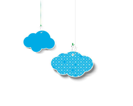 Clouds hung on fishing hooks. Vector illustration