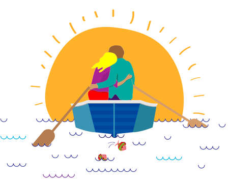 A loving couple is embracing in a boat. Vector illustration