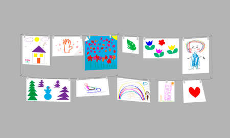 Childrens drawings. Gallery on a gray background. Vector illustration