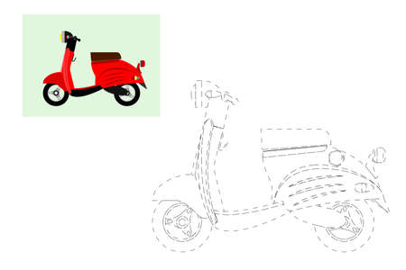 Coloring. Simple educational game for children. Vector illustration of a motor scooter Illustration