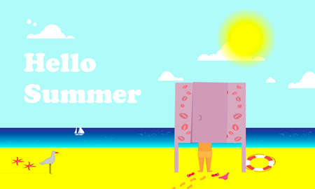 Hello letto. View of the sea and the sandy beach. A child is undressed in the beach changing room. Seagull and starfish. Vector illustration. Çizim