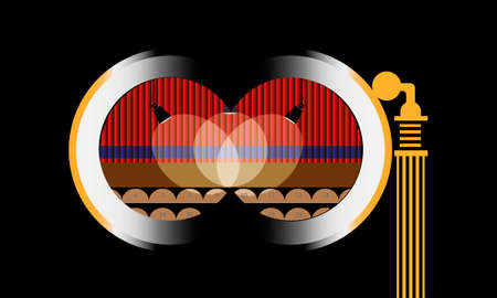Opera binocular in theater against stage and drop-curtain. Vector illustration Ilustracja