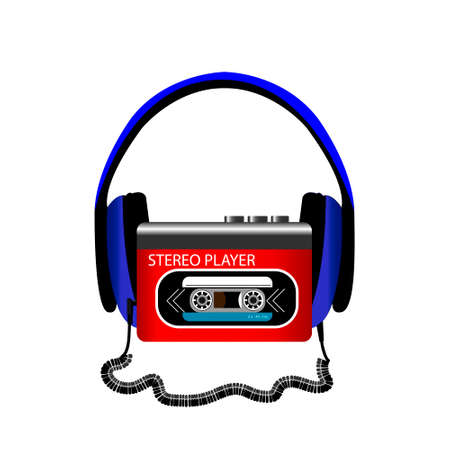 Retro audio player with headphones on white background. Vector illustration