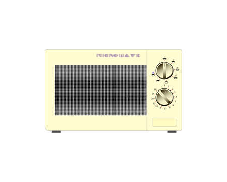 Old microwave on a white background. Vector illustration Foto de archivo - 130998392