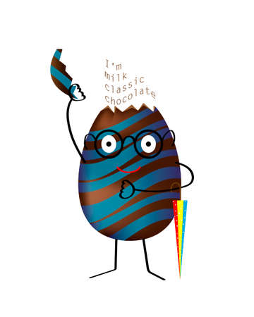 Chocolate egg in cartoon style. Vector illustration