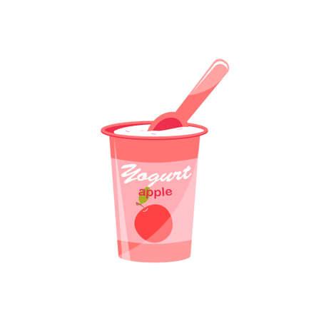 Packing yogurt with a teaspoon. Apple-flavored yogurt. Vector illustration