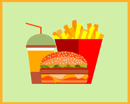 Fast food. Set of burger, french fries and a drink. Vector illustration in vintage style