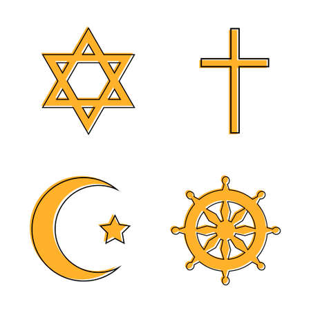 Set of religious signs: cross, crescent, wheel of Dharma, star of David. Vector illustration Illustration