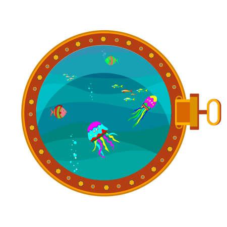 Porthole. View of the underwater world from the porthole. Isolated background. Vector illustration Illustration