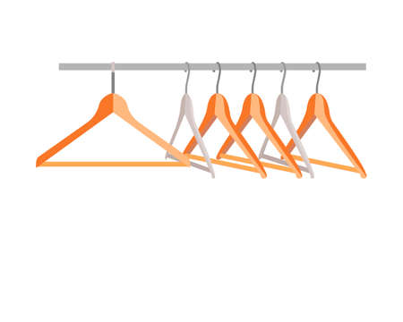 A set of hangers for clothes on a white background. Vector illustration. Stock Illustratie