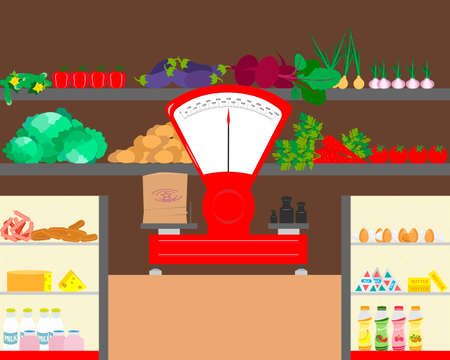 Shop counter with dairy products and vegetables. Counter with weights. Vector illustration