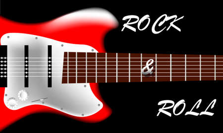 Poster with the image of an electric guitar on a black background. Rock and roll inscription Illustration