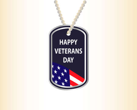Happy Veterans Day. Medallion with the inscription and US flag. Vector illustration Stock Illustratie