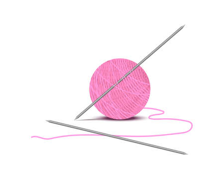 Knitting thread with metalltic knitting needles. Isolated white background. Vector illustration