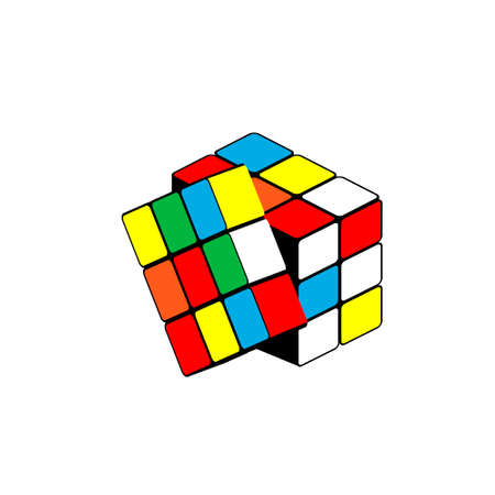 Puzzle isometric rubiks cube. Vector illustration on a white background