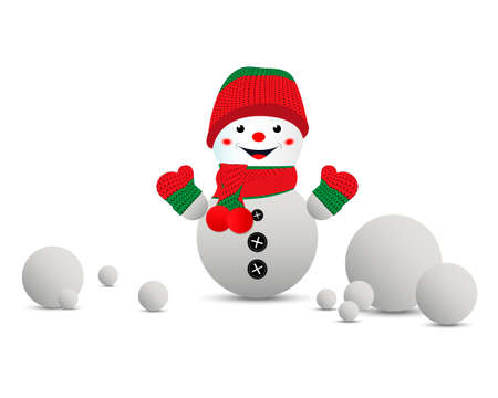 Cartoon snowman in a red-green knitted hat and mittens. White, isolated background. Vector illustration