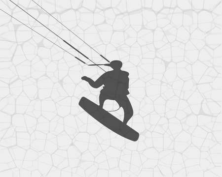 Silhouette of a surfer soaring on the water. Vector illustration