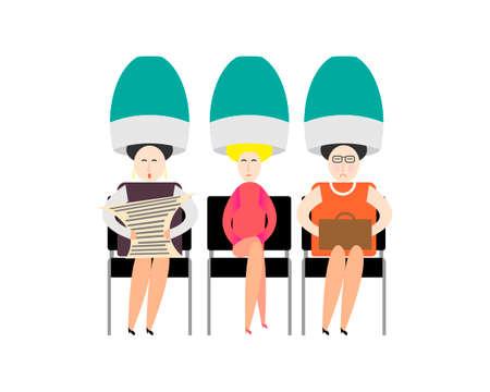 Caricature. Coiffeur de vieilles femmes. Les femmes se sèchent les cheveux avec de grands sèche-cheveux. Illustration vectorielle sur fond blanc Vecteurs